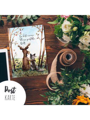 A6 Postkarte Liebe Print Elch und Fuchs mit Spruch