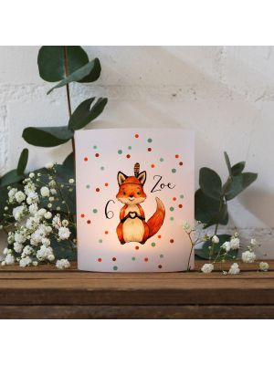 Taufkerze Kerze Taufe Fuchs Junges Blätterkranz pinkes Kreuz Name wk128