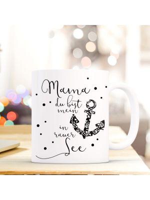 Tasse Teetasse Kaffeebecher Anker Schwarz Kaffeetasse mit Spruch