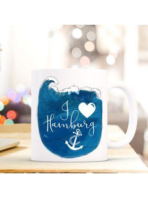 Tasse Hamburg Kaffeebecher Kaffeetasse Welle mit Spruch