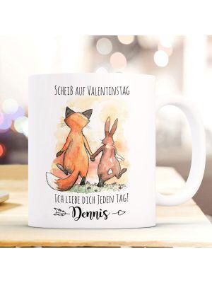 Tasse Becher Fuchs & Hase Pärchen Scheiß auf Valentinstag Geschenk Name ts942