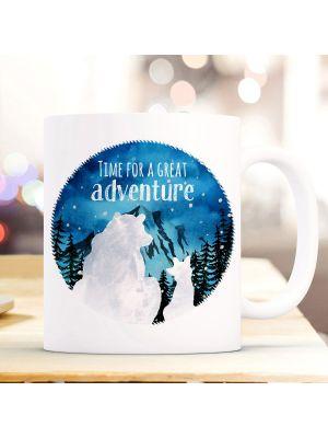 Tasse Becher Kaffeetasse Bär & Fuchs Time for a great Adventure Berge ts986