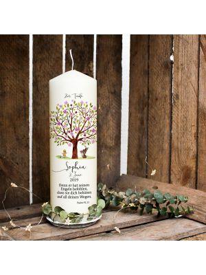 Taufkerze Kerze zur Taufe Baum rosa Hase Entchen Wunschname Spruch wk121