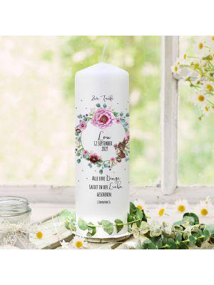 Taufkerze Kerze zur Taufe Blütenkranz mit Hase Wunschname Spruch wk122