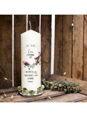 Taufkerze Kerze zur Taufe Blütenkranz Hase Punkten Wunschname Spruch wk123