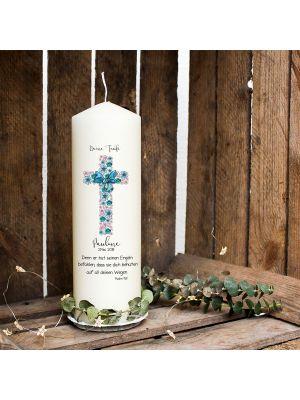 Taufkerze Kerze zur Taufe oder Geburt Kommunionkerze Kreuz hellblau mit Blumen Spruch Wunschname & Datum wk39