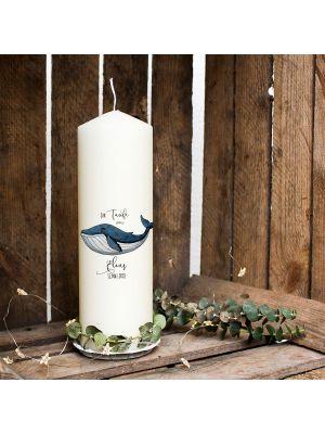 Taufkerze Kerze zur Taufe oder Geburt Kommunionkerze mit Wal Blauwal wk07