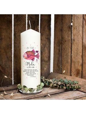 Taufkerze Kerze zur Taufe Kommunionkerze Fisch pink Wunschname & Datum wk82