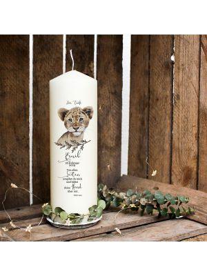 Taufkerze Kerze zur Taufe Kommunionkerze Löwe Wunschname & Datum wk91