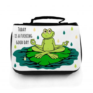 Waschtasche Kosmetiktasche Yoga Frosch good day toilet bag yoga frog good day wt020